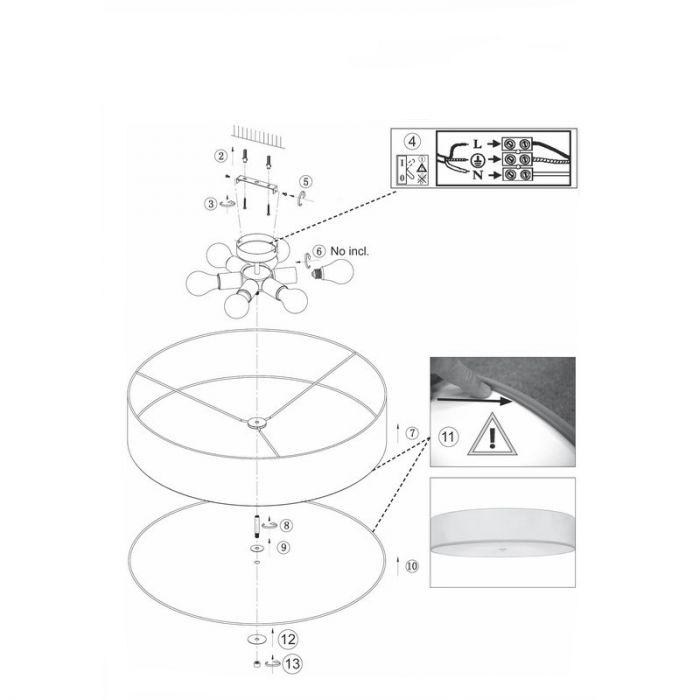 Moderne plafondlamp Kailou - Wit, Chroom