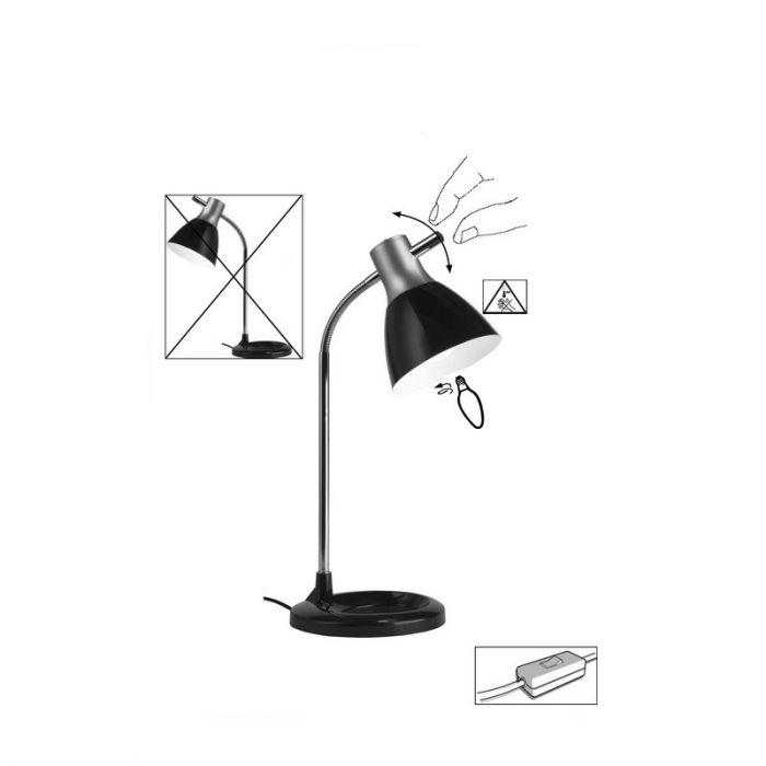 Zilveren, Witte bureaulamp Liberty