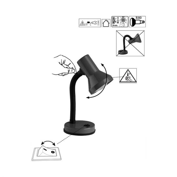 Zwarte bureaulamp Loet