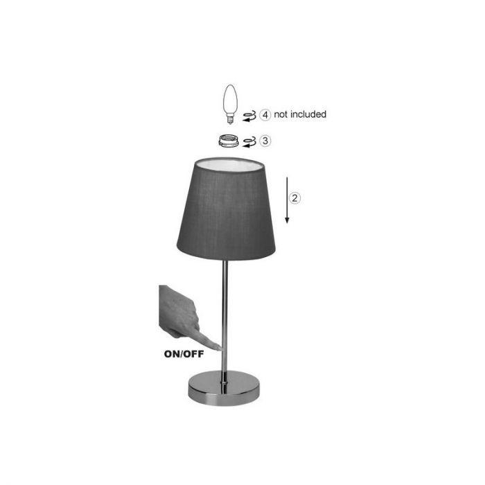 Chroom, Witte tafellamp Neyla