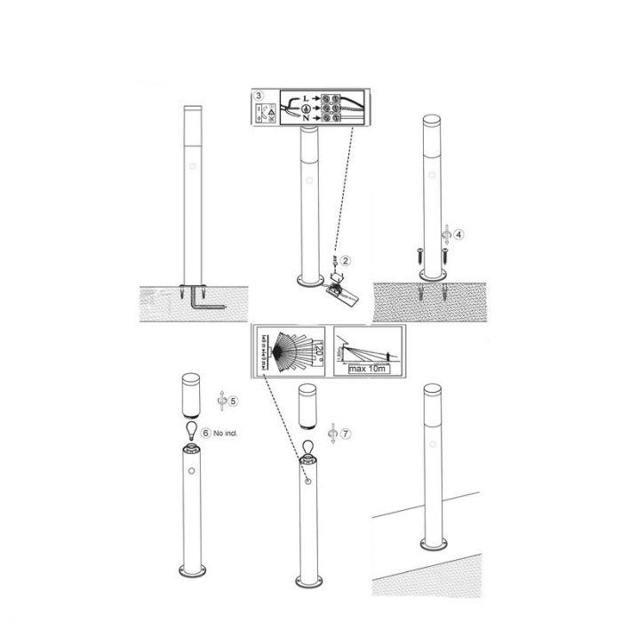 Chroom buiten staande lamp Tieso - Chroom, met bewegingssensor