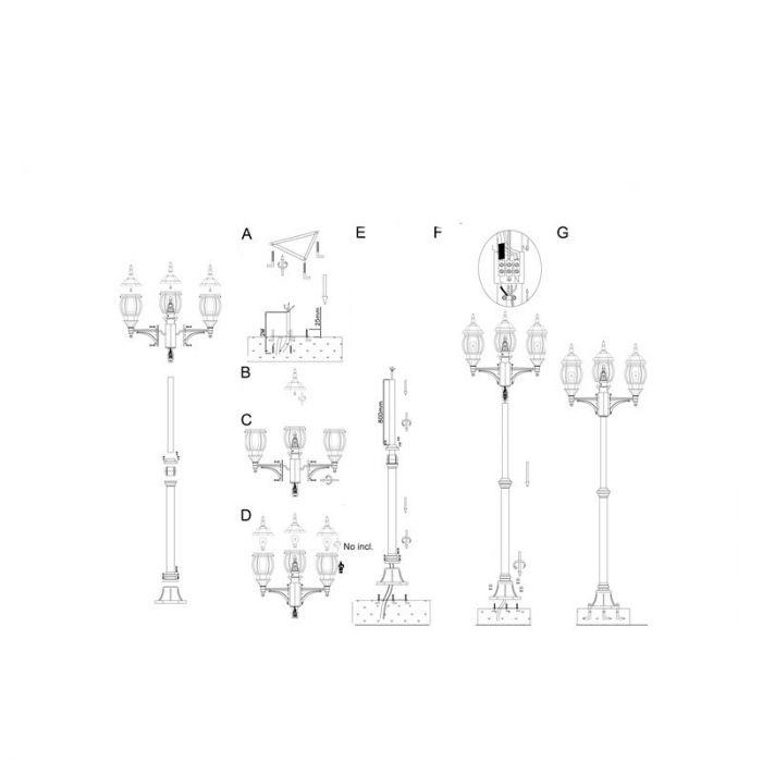 Zwarte buiten staande lamp Justina buitenlamp - Lantaarn / Zwart