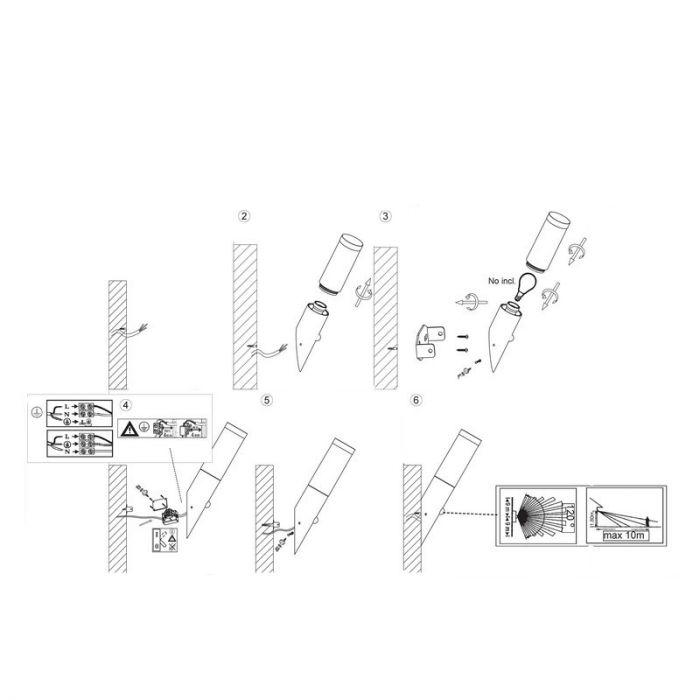 Chroom buiten wandlamp Tristan wandlamp - Chroom, met bewegingssensor