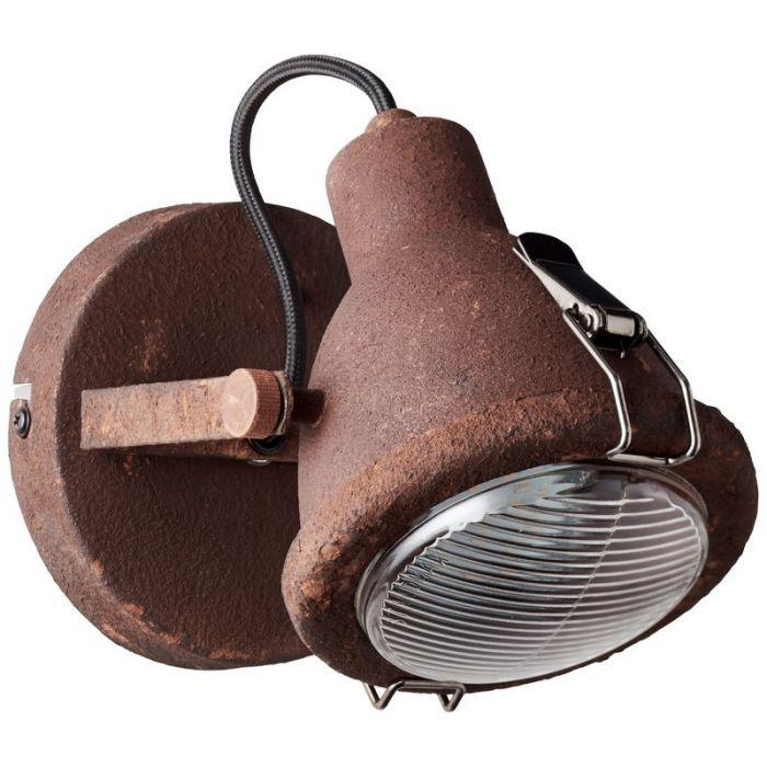 Industriële wandlamp Acelya, roestbruin