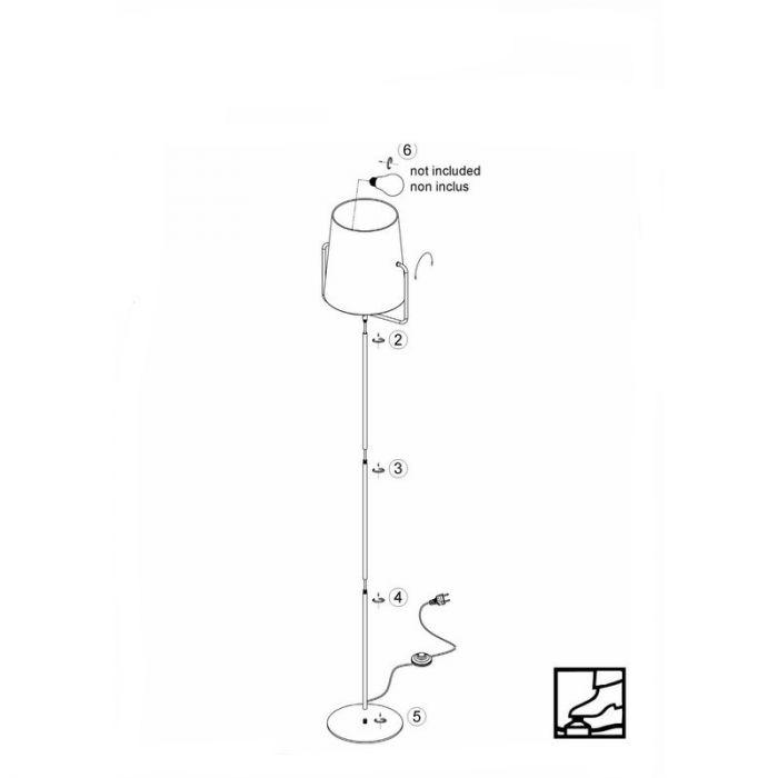 Moderne vloerlamp Adeline, Zwart en Wit
