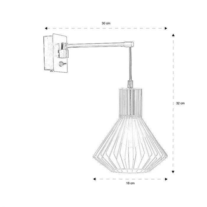Industriële wandlamp Agnes, Zwart en Koper