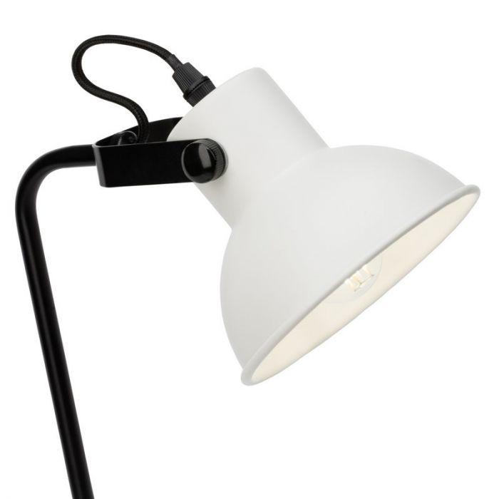 Industriële tafellamp Aisa, Wit en Zwart