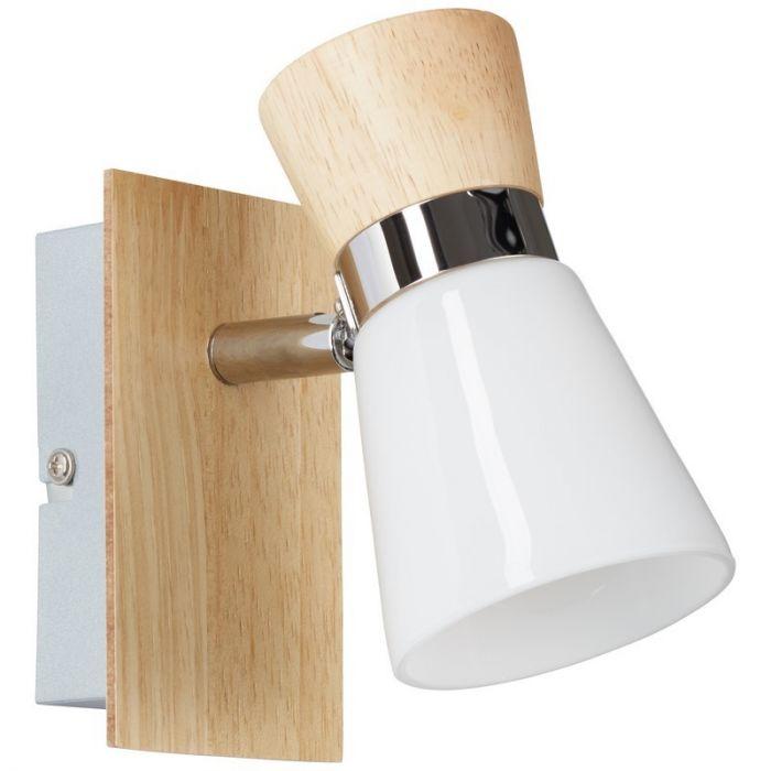 Moderne wandlamp Ally, Bruin en Chroom en Wit