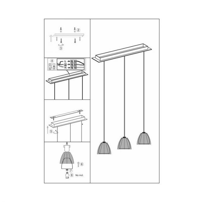 Moderne hanglamp Amela, Brons en Chroom