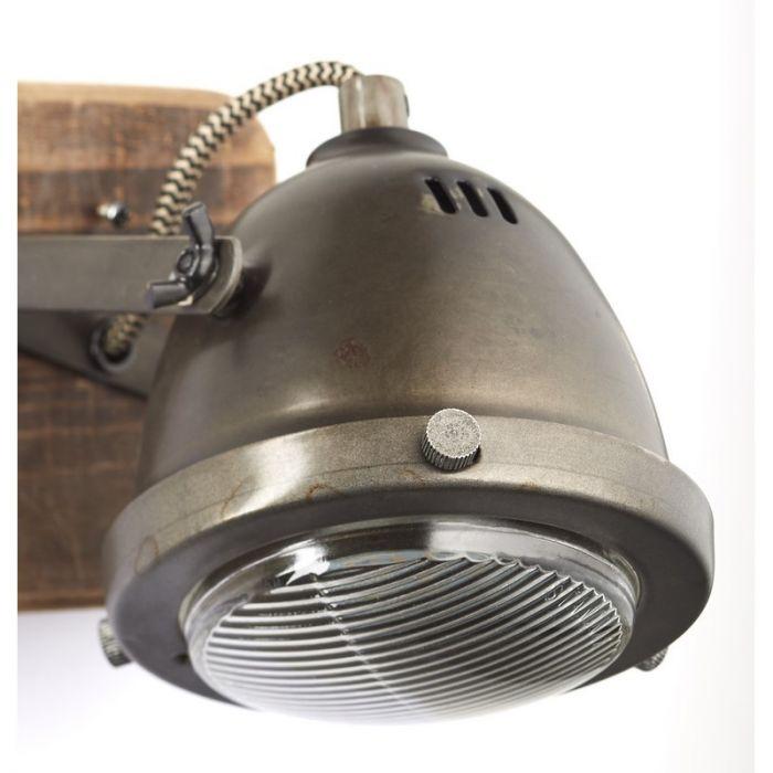 Moderne wandlamp Elena, Burned Steel, Hout