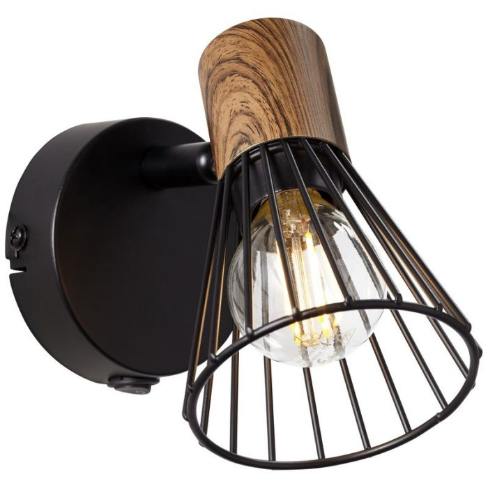 Moderne wandlamp Floor, Donkerkleurig Hout, Mat Zwart