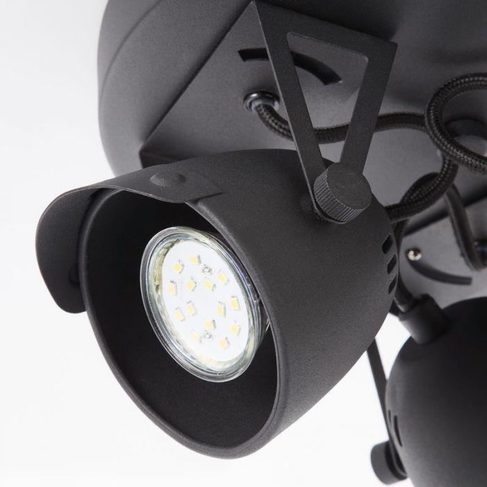 Retro plafondlamp Linde, Zwart steen