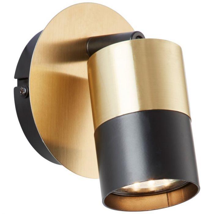 Moderne wandlamp Cato, Geborsteld Messing, Zwart