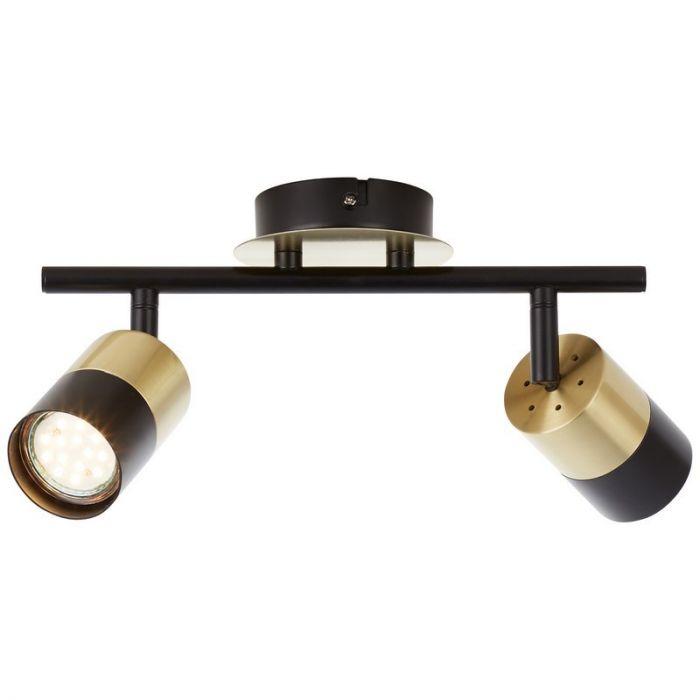Moderne plafondlamp Cato, Geborsteld Messing, Zwart