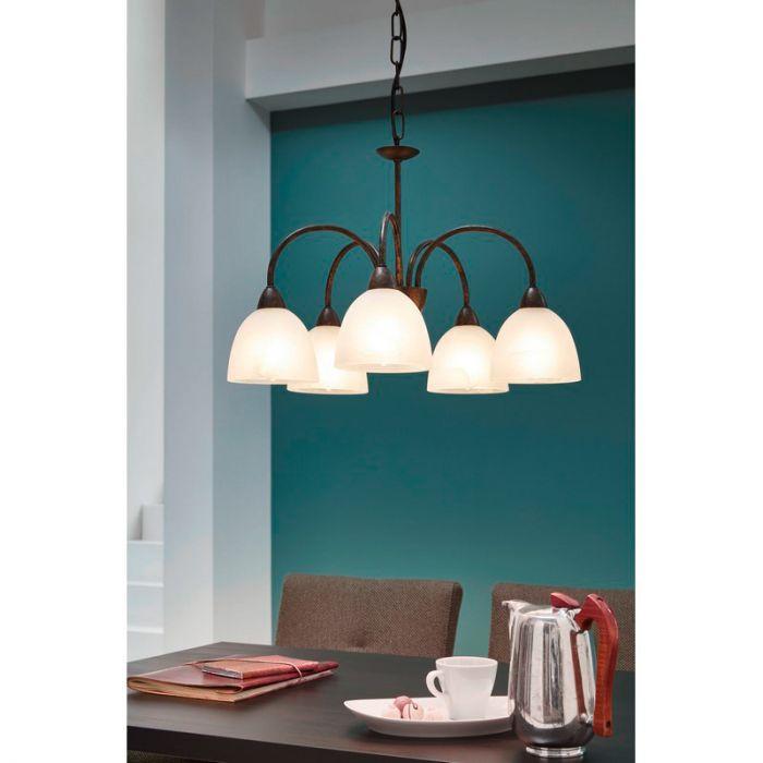 Roestkleur klassieke hanglamp Sanvito 5 glazen kapjes