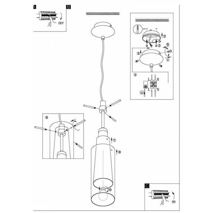Nikkel glas hanglamp Baunei Dubbellaags glas