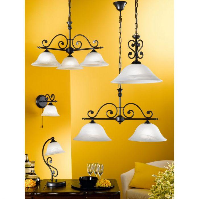 Tesse klassiek landelijke hanglamp Zwart Wit
