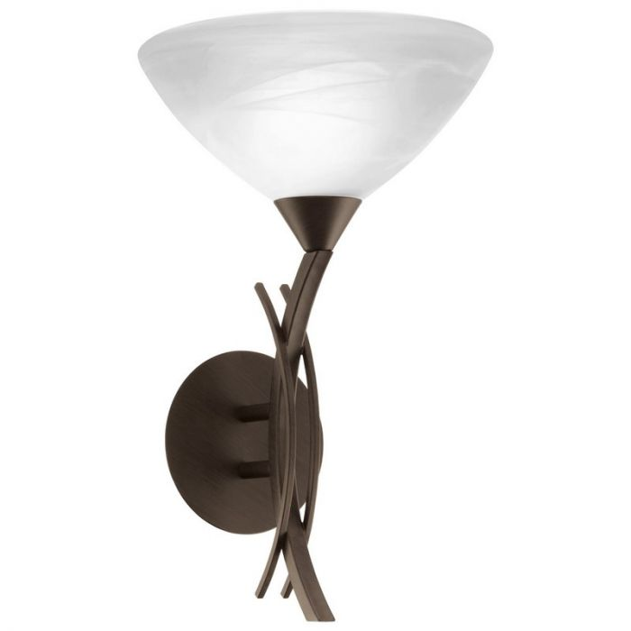 Cerrada wandlamp Donkerbruin met albaster glas