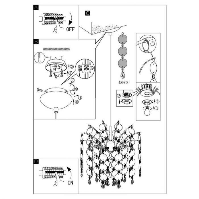 Marbe hanglamp witte slingers met rondjes grootste formaat