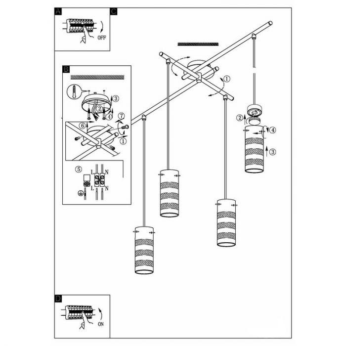 Gino design hanglamp vier lampjes mat nikkel