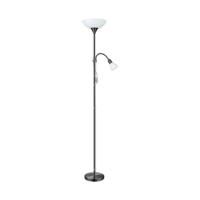 Burgo vloerlamp nikkel-nero met leeslamp