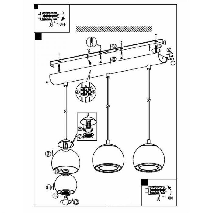 Koper eettafel hanglamp Iroma Design glas