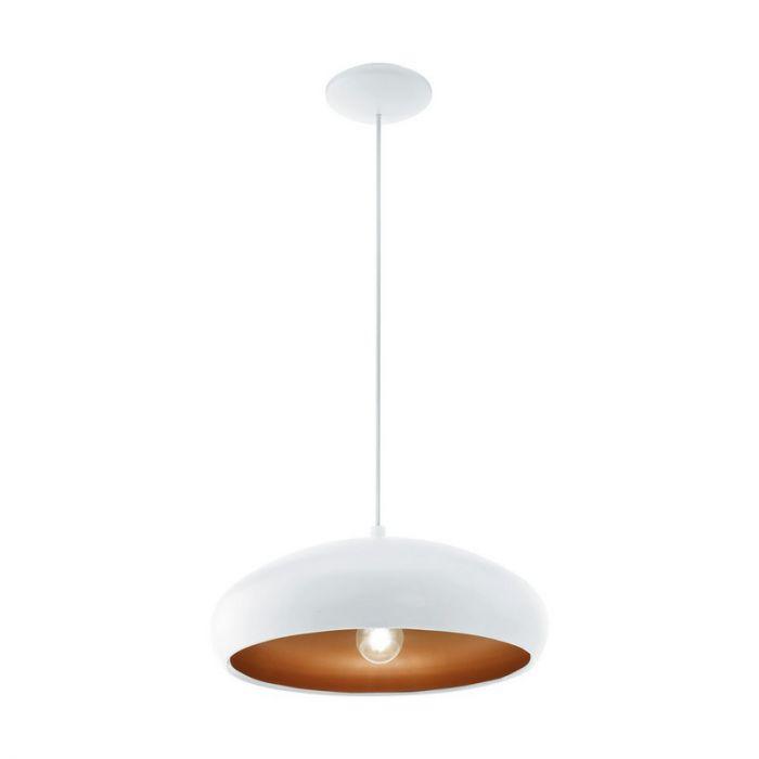 Witte moderne hanglamp Egine Koperen binnenzijde