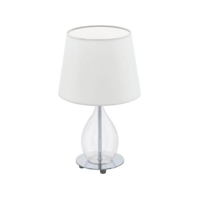 Moderne Klassieke Glazen Stoffen Chroom Transparante Witte tafellamp Lillyam