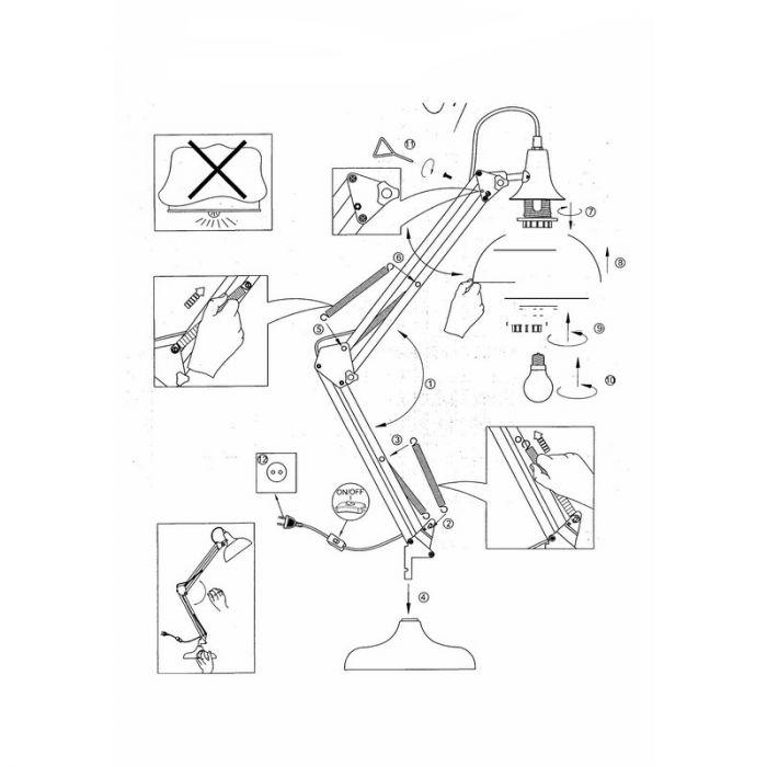 Industrieel Landelijke Brocant Moderne Witte tafellamp Loet