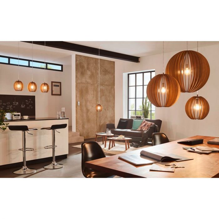 Eettafellamp Bergamo Gemaakt van hout