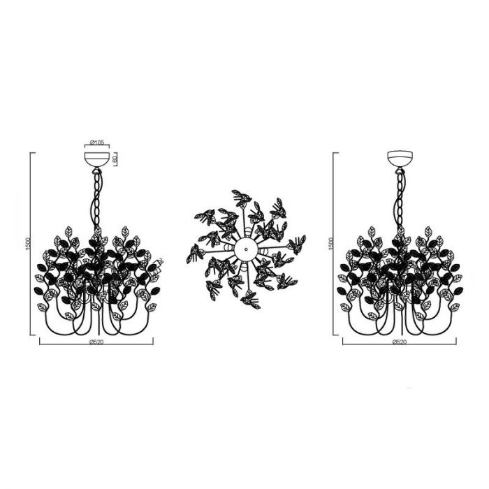 Design kroonluchter Charlotte, Roestkleur Antiek