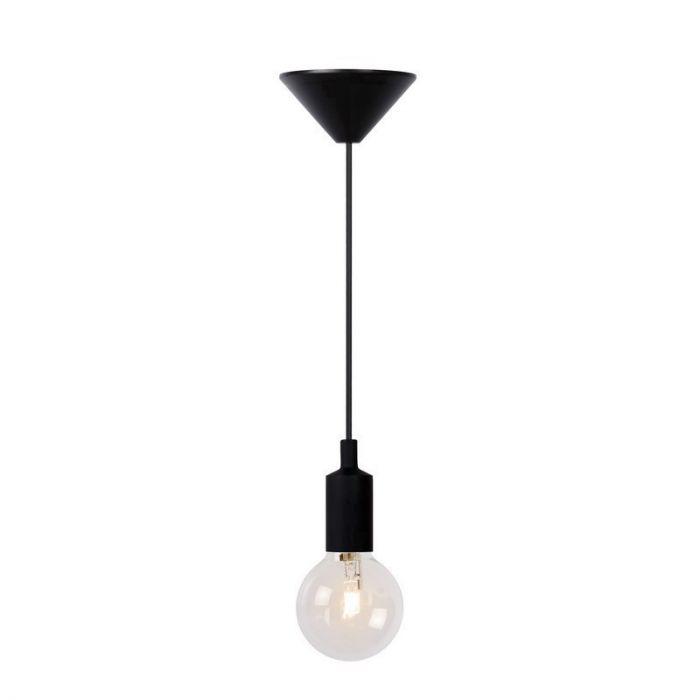 Zwarte hanglamp Fix, Rond