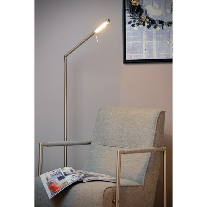 Staande Bergamo leeslamp met dimmer, geborsteld chroom