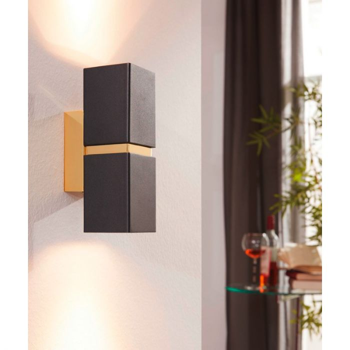 Annely wandlamp - Zwart Goud