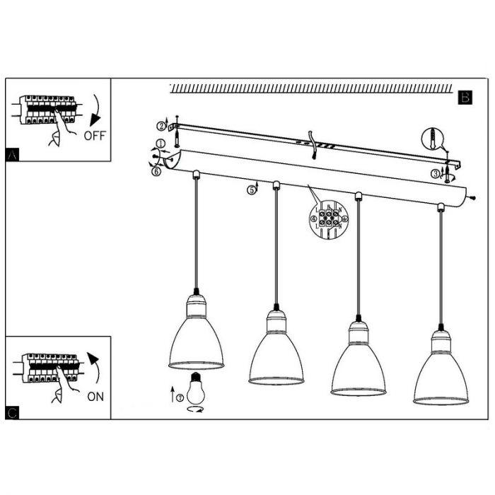Irpino industrie eettafellamp Zwart