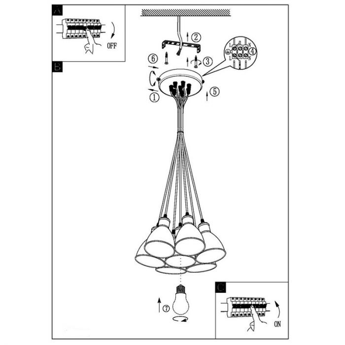 Irpino zwarte industrie hanglamp 7 lampenkapjes