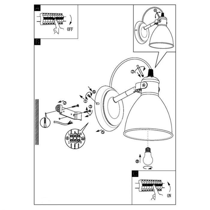 Landelijke Industrieel Zwarte Witte wandlamp James