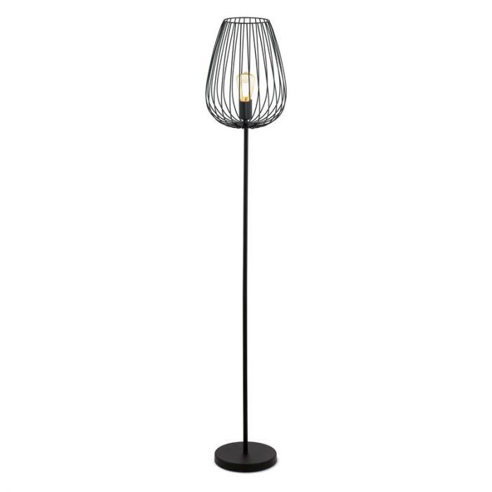 Landelijke Industrieel Zwarte vloerlamp Jinane